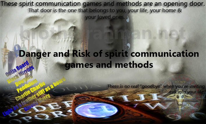Ouija Board Black Mirrors Dowsing Pendulum: Dangers of spirit